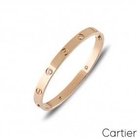 Cartier Rose Gold Half Diamond Love Bracelet Size 17 B6036017